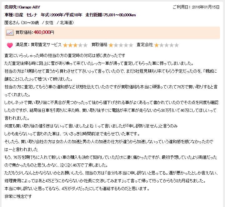 楽天オート北海道ランクル悪い評判3